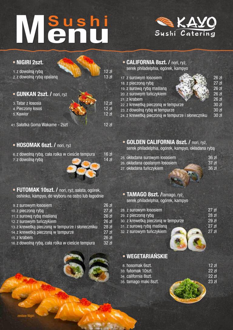 kayo sushi menu